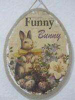 Primitive Vintage Style Easter funny Bunny Rabbit Hanging Sign Decoration