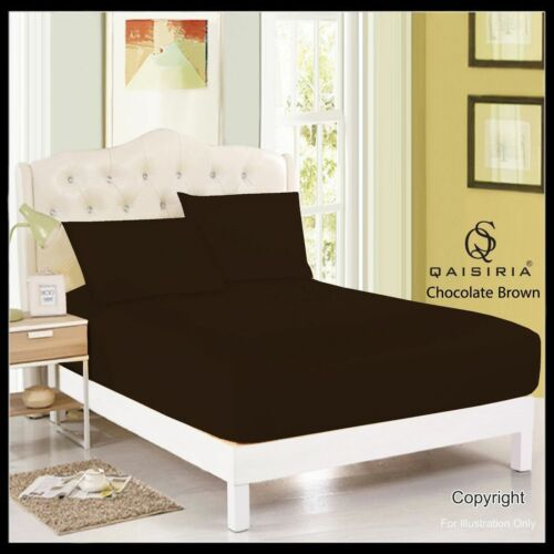 Qaisiria Plain Dyed Fitted Bed Sheets for Bedroom Single Double King S.King Size