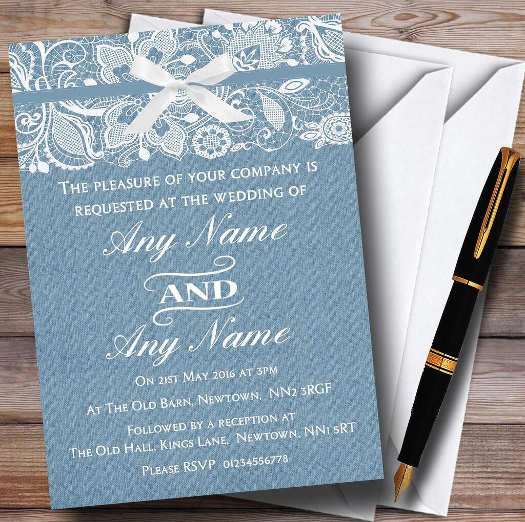 Vintage Dusky Blau Burlap & Lace Personalised Wedding Invitations