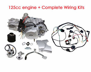 Details about 125cc Semi Auto Engine Motor 3 Sd Reverse + Wiring Harness on
