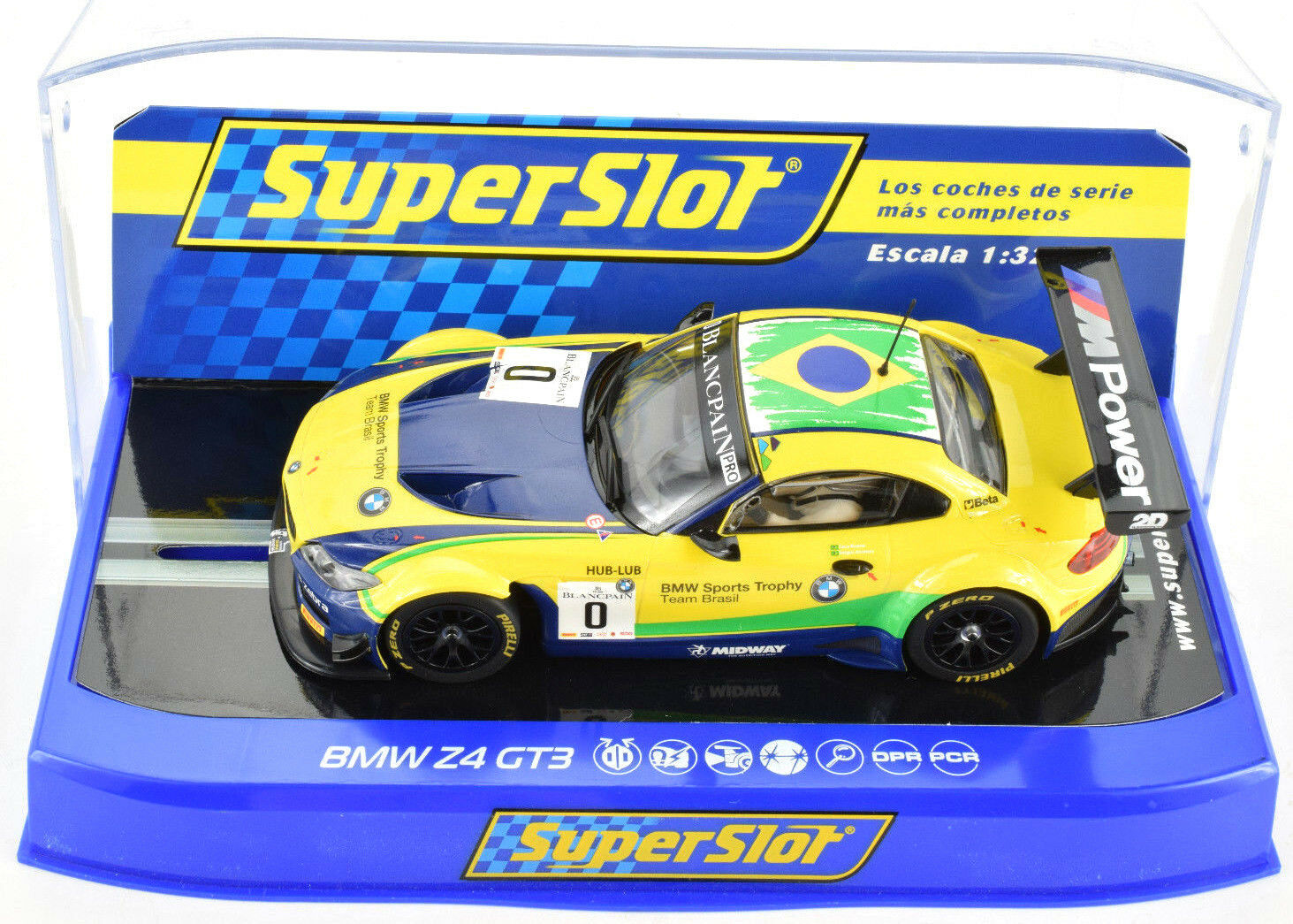 Scalextric   Super Slot  BMW  bmw Z4 GT3 PCR DPR W  Lights 1 32 slot Car C3721