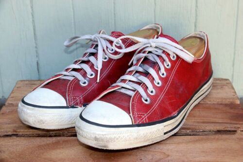 VTG Converse Made in USA Red Leather Low Top Casua