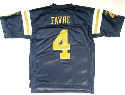 check out 52726 93084 Reebok NFL Brett Favre Navy Blue Yellow #4 New York Jets Jersey Men's Sz L  | eBay