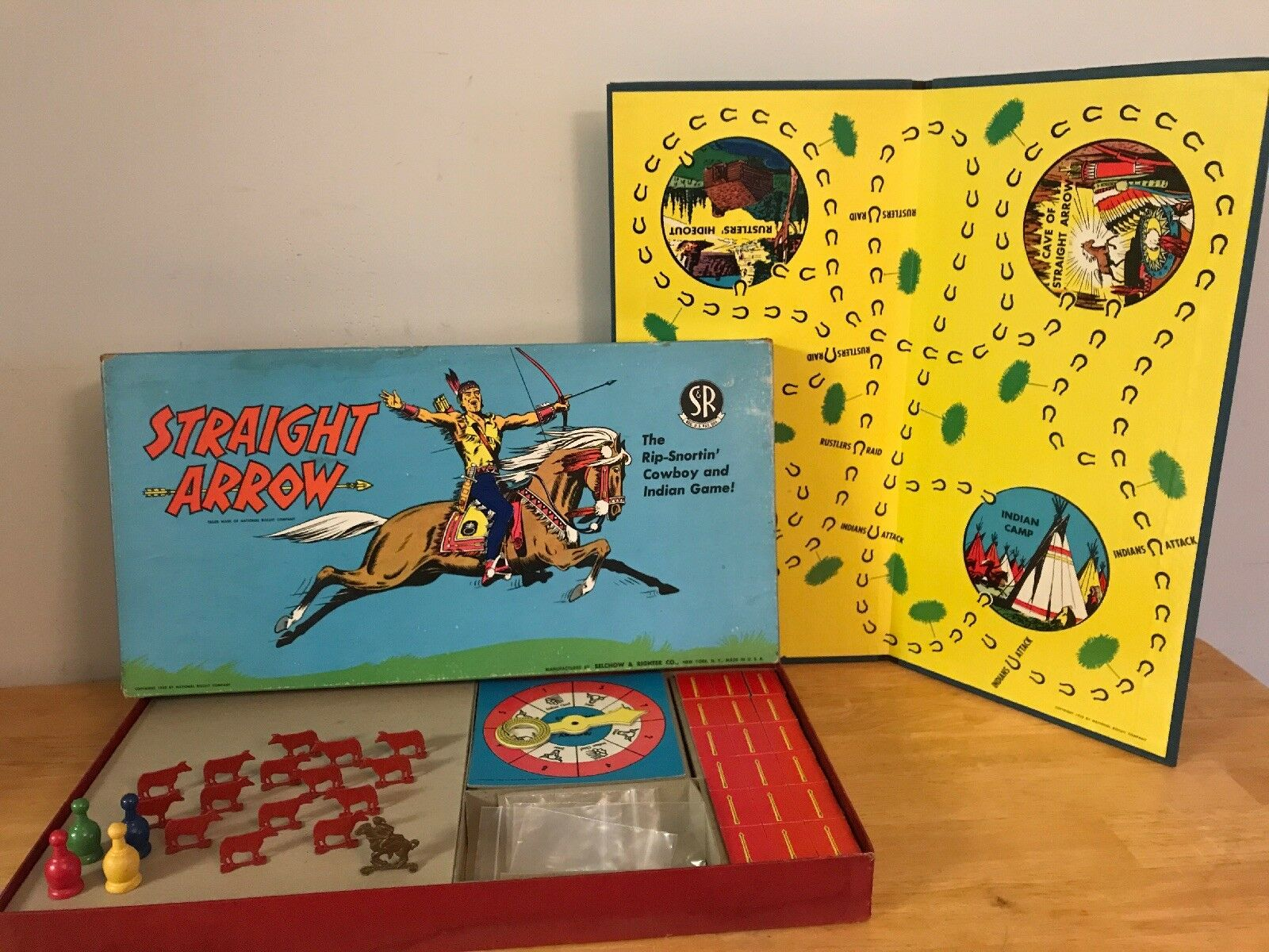 1950 STRAIGHT ARROW gioco   49  completare w  ORG. METAL PIECES SELCHOW & RIGHTER CO  economico