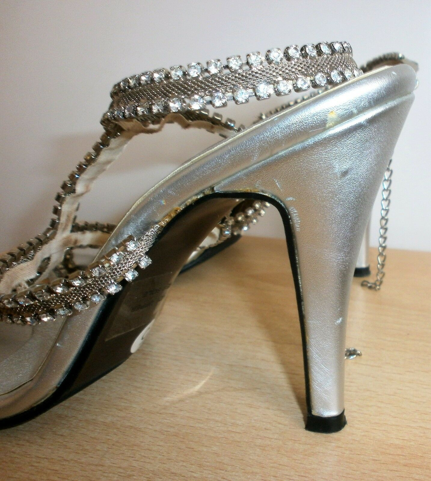 LADIES UNZE by Shalimar CRYSTAL SILVER HIGH STRAPPY Schuhes HIGH SILVER HEELS Größe 5 UK 38 EUR 5d5126