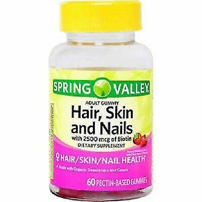2pk Spring Valley Hair Skin Nails 2500 Mcg Of Biotin 60