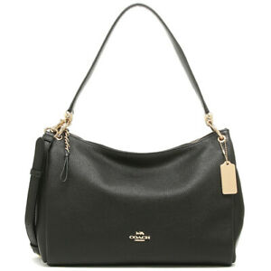 NWT-COACH-Mia-Shoulder-Bag-Crossbody-Classic-Leather-Purse-Black-Gold-F28966