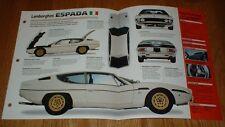 1972 Lamborghini Espada 400gte Spec Sheet Brochure Info Photo Pamphlet 400 Fits Lamborghini Jalpa