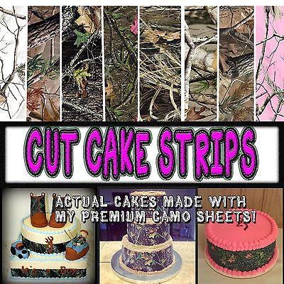 Cake Strips Edible Camouflage Sugar camoflage wraps paper pink wedding sheets