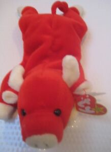 c7ffc45c8a8 New TY Beanie Baby Snort The Bull 1995 Retired Rare 15 Tag Errors ...