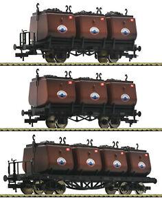 Fleischmann-H0-526505-Kohlekuebelwagen-Set-034-Steinkohle-Syndikat-034-gealtert-NEU-OVP