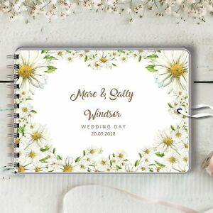 Personalised Wedding Guest Book Daisy Frame Blank Message Book