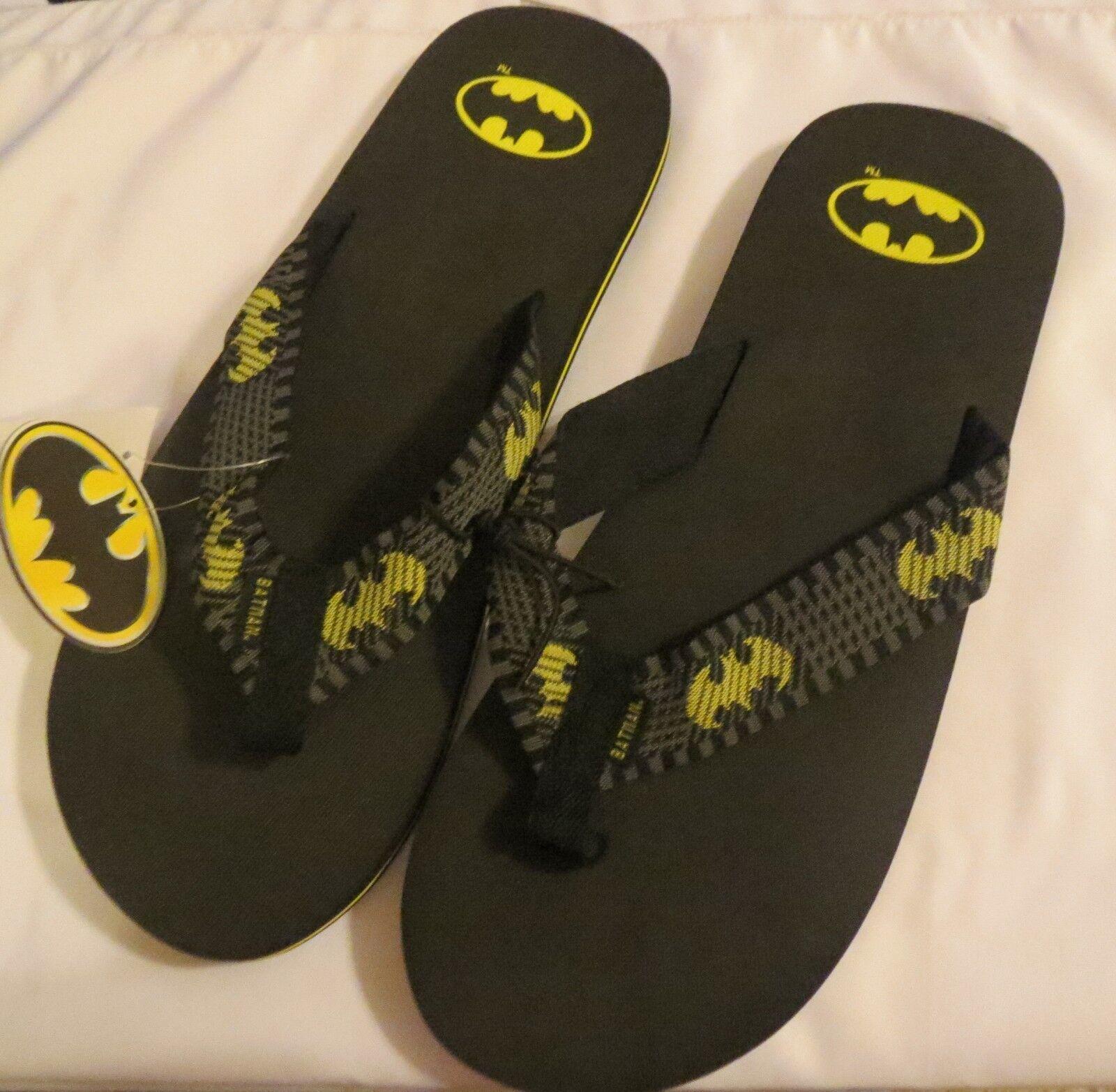 Men's XL BATMAN Black Flip Flops TM & DC Comics