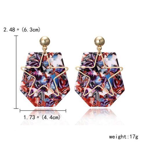 Charm Geometric Star Triangle Tassel Drop Dangle Ear Stud Earrings Women Jewelry