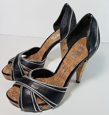 Nuevo J-lo Jennifer Lopez Vintage Negro Plata Corcho Peeptoe plataforma Tacones Zapatos 5