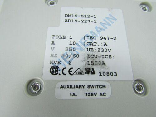 DM1S-Z12-1 AD1S-Y27-1 CH-1345 250 V 10 A Heinemann Eaton 1-pôle disjoncteurs
