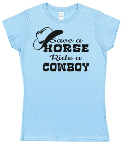 Enregistrer un cheval ride a cowboy t-shirt dames des femmes monté 8-18 drôle