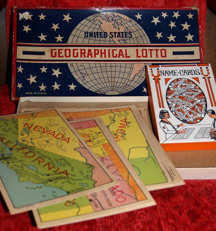 Vintage Gioco 30's United States Geografico Lotto Raro