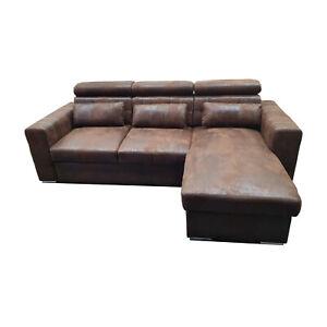 Couch Schlafsofa MAGGIO Vintage Stoff Wildleder Schwarz ...