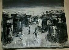 Original Modern Haitian Art on Canvas, The City of Haiti Abstract Oil Painting