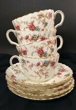 Vintage Minton ancestral 8pc. set of 4 tea cups and saucers gold scalped edge
