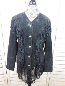 Blazer Coat Suede Jacket Dame Creek Cripple Ladies Black Fringe Vintage Large cwH1gvxqtS