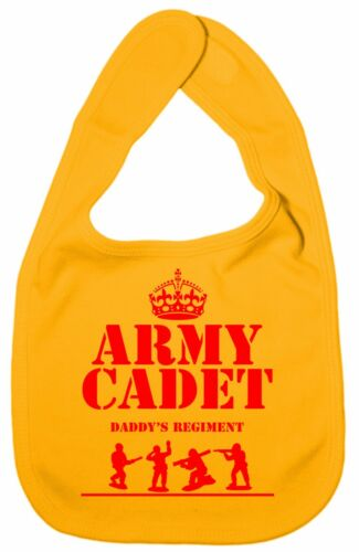 """Funny Baby Bib /""""Army Cadet in Daddy/'s Regiment/"""" Boy Girl feeding Soldier Gift"""