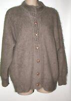 Vtg Venesha Angora Sweater Jacket Taupe M/l Oversized 48 Bust