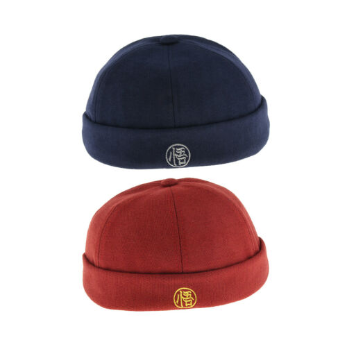 2pcs Mens Retro Wool Felt Docker Cap Hat Beanie Cap Adjustable Skullcap