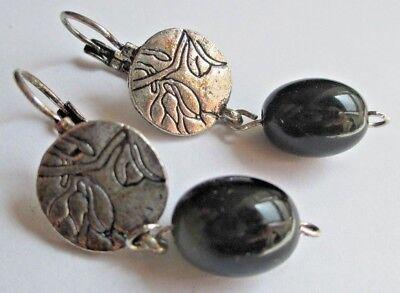 Importato Dall'Estero Boucles D'oreilles Argentées Dormeuse Bijou Vintage Perle De Verre Noir 1651