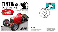 "FDC BELGIUM ""TINTIN & Friends - CAR / BUGATTI Type 52 Baby - SNOWY Dog"" 2014"