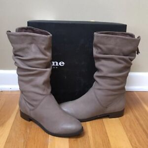 91ffdf9b77f Details about DUNE LONDON 'Rosalind' Taupe Suede Slip On Ruched Calf Boots  - Size 5M / 36