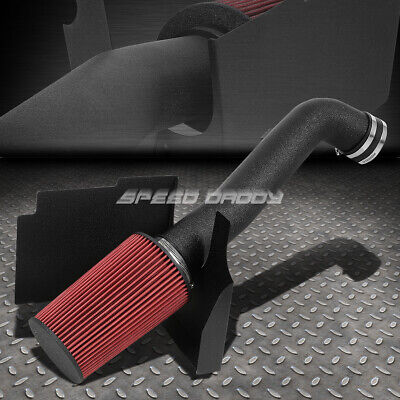 Fit 01-04 Silverado//Sierra 6.6 V8 Wrinkle Finish Aluminum Air Intake+Heat Shield