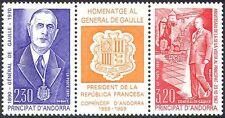 Andorra 1990 General de Gaulle/People/WWII/Military/Politics 2v set + lbl n41861
