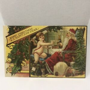 Vintage-Postcard-Santa-Claus-Merry-Christmas-And-A-Happy-New-Year