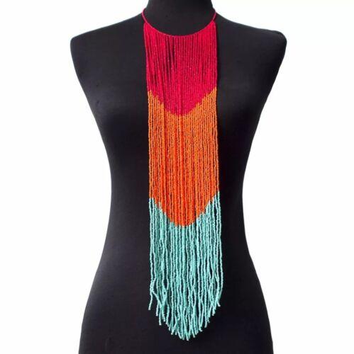 Ladies handmade long beaded statement necklace African jewellery Imani Multi