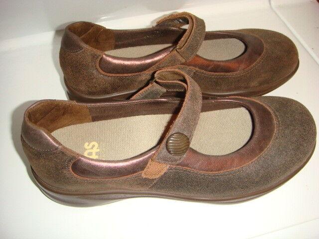 NEU SAS Damenschuhe WALK EASY  TRIPAD COMFORT SIZE 10 M HOOK LOOP CLOSURE BROWN