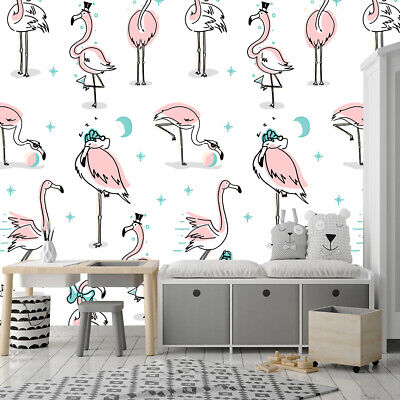 Pink Flamingo Wallpaper For Kids Room Peel And Stick Removable