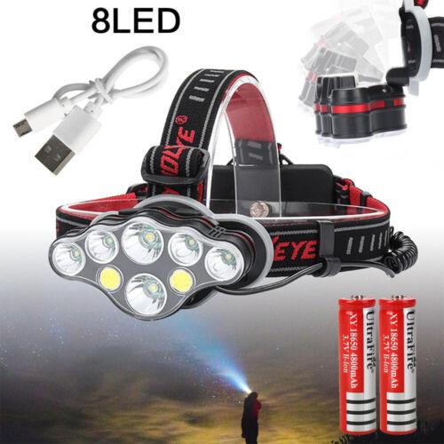 Super Hell LED stirnlampe USB SCHEINWERFER Kopflampe TASCHENLAMPE Wiederaufladba