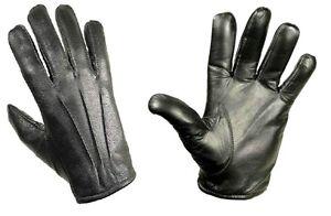 GENTS LUXURY LEATHER GLOVES Mens S-XL genuine100/% leather 3 point stitch BLACK