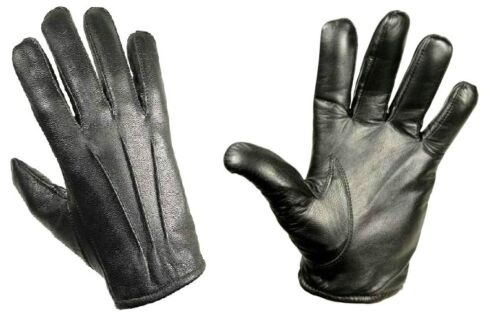 GENTS LUXURY LEATHER GLOVES Mens S-XL genuine100/% leather 3 point stitch BLACK