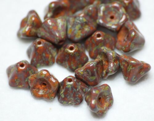 20 CZECH GLASS BELL BEADS PICASSO MULTI COLOURED 10 x 6mm BBC2005