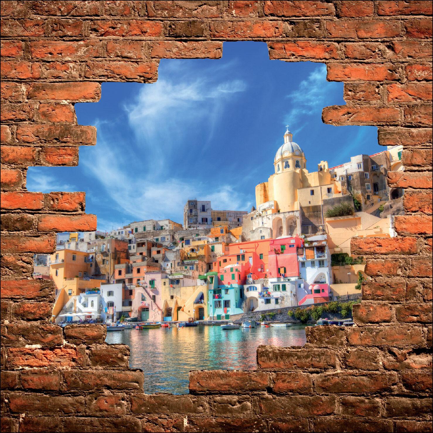 Sticker mural trompe l'oeil mur de pierre déco La Grèce réf 891