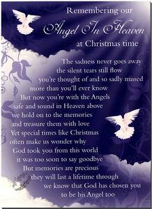 Christmas-Grave-Card-Angel-In-Heaven-FREE-HolderC114-Memoriam-Funeral-Memoriam
