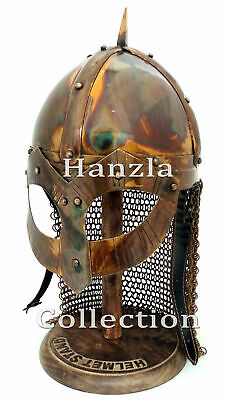 Medieval Norman Viking Antique Black Amour Iron and Brass Chainmail Wearable Helmet