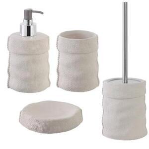 Set accessori bagno da appoggio in ceramica bianco e acciaio inox linea sacco ebay - Accessori bagno in acciaio ...