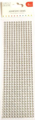 TRIMCRAFT simplemente Creative 6MM plata adhesivo Piedras Preciosas-Gemas 504 por paquete