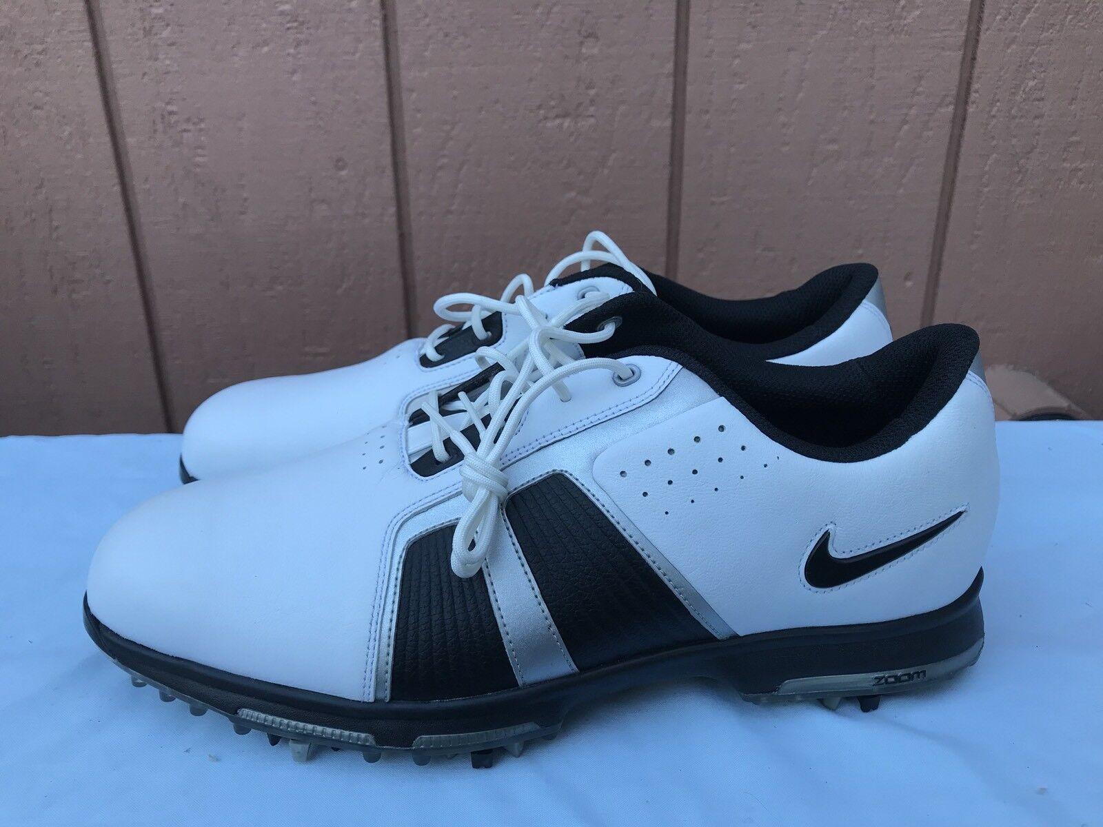 Nike zoom trofeo uomini '10 483246 101 cuoio bianco impermeabile scarpe da golf a2