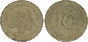 10 Pfennig 1979 J Germany 10Pf. J.383 Lack Coinage Stempeldrehung, VF 51444