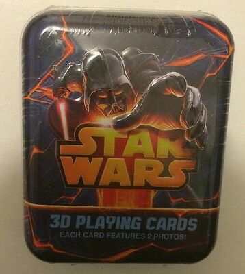 3D LENTICULAR STAR WARS PLAYING CARDS IN METAL TIN EACH CARD HAS 2 PHOTOS NEW